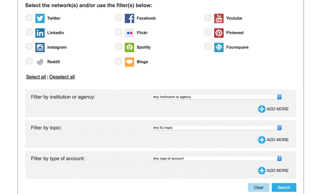 A tool to follow European content on social media platforms